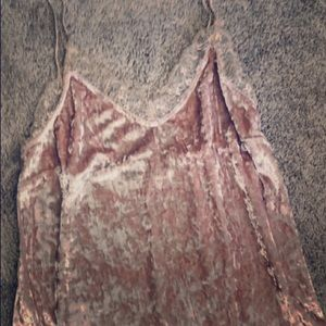Tops - Crushed velvet Rose color thin strap w lace neck